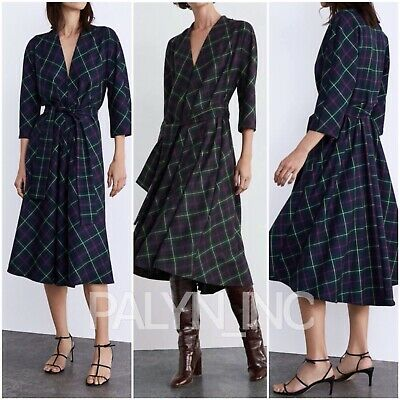 Rare_nwt Zara Aw18 Long Flowing Belted Plaid Dress 4437/287_xs S M L Xl • 45.99$