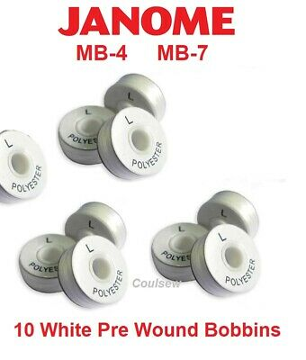 EMBROIDERY PRE WOUND BOBBIN THREAD FITS JANOME MB-4 MB7 WHITE SIDED L -120m X 10 • 6.55£