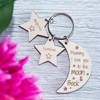 PERSONALISED WOODEN KEYRING MOTHERS DAY GIFT For MUM NANNY GRANNY MOON STARS PLY • 4.99£