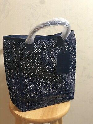 00ae51a1c5a Toryburch Bag Perforated Patent Tote Bag Navy Blue • 50.00