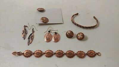 $ CDN68.02 • Buy Lot Of Copper Indian Jewelry Some Signed Stamped Maker One With Turquoise WJ WM