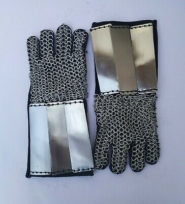 Chainmail Gloves Armor Pair W Brass Accents - Medieval Knight Crusader- Steel • 66.49£