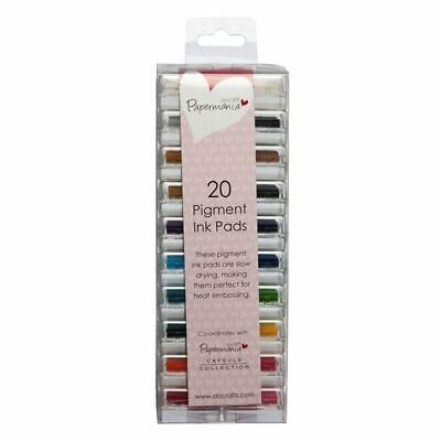 Papermania Pigment Based Slow Drying Mini Ink Pads Assorted Colours Pack Of 20 • 11.69£