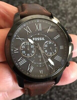 View Details Mens Fossil Fs-4885 Leather Strap Watch New Battery In It Lovely Condition • 39.99£