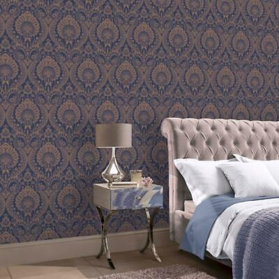 Decoris Navy Blue And Gold Damask Wallpaper By Arthouse 910308 • 12.99£