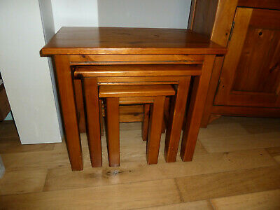 Solid Wood Stained Pine Nest Of 3 Tables Hampshire / Cornwall Design • 70£