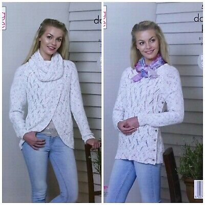 KNITTING PATTERN Ladies Lace Cardigan Cowl & Jumper Cottonsoft DK King Cole 5361 • 3.95£