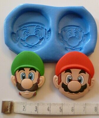Mario And Luigi Silicone Mould For Cake Toppers Chocolate, Clay Etc • 6.50£