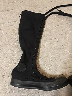 d0a32e603279 Converse All Star Solid Black Knee High Boot Lace Up Shoes Women s 6 Men s  4 Zip