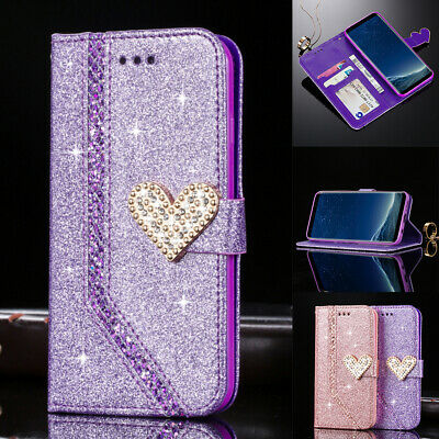 Magnetic Bling Leather Flip Case 3D Diamond Heart Wallet Card Slots Phone Cover • 5.49£