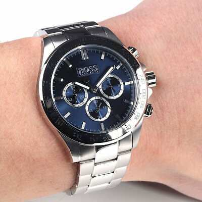 BRAND NEW HUGO BOSS HB1512963 Mens Ikon Silver Blue Face Chronograph Watch  • 96.49£