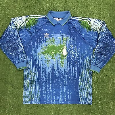 9ef9ad015d1 Vintage Adidas Goalkeeper Jersey Shirt Made In USA Size XL Blue Green 90s  Padded • 49.95