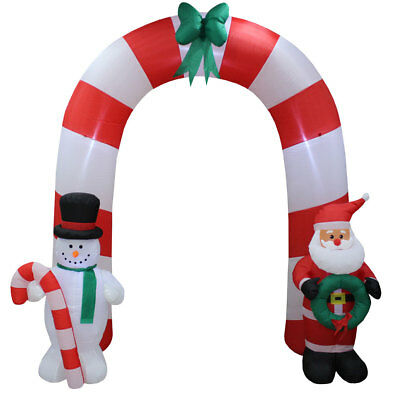 Christmas Decorations Lighted Outdoor Airblown Yard Inflatables Santa Arch 8 Ft • 91.99$