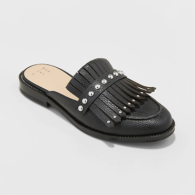 $20 • Buy NEW Women's Karoline Backless Loafer Mules - A New Day Black Or White