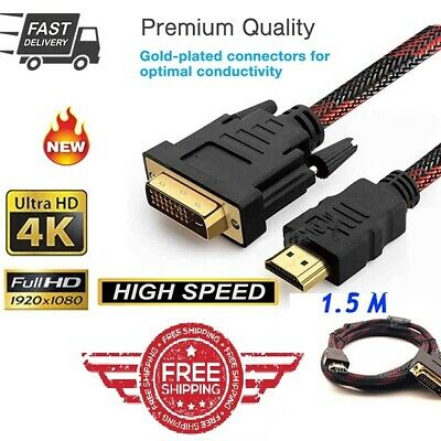 AU7.50 • Buy HDMI To DVI Cable Male DVI-D LCD Monitor Computer PC Projector DVD Cord Lead