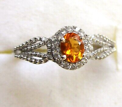 £19.41 • Buy Mexican Fire Opal & White Zircon Ring / Size 5 / 925 Sterling, 0.43ct