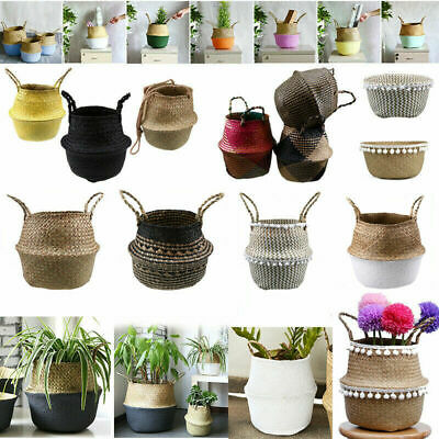 82 Types Seagrass Belly Woven Basket Flower Plants Pots Storage Bag Home Decor • 11.65£