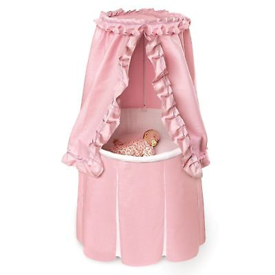 $174.99 • Buy Pink Baby Bassinet Round Cradle Canopy Cover Crib Skirted Nursery Infant Bed