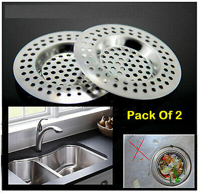 £2.49 • Buy New 2pc Stainless Steel Sink Bath Plug Hole Strainer Basin Hair Trap Drainer Cov