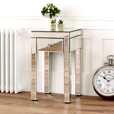 £129 • Buy Venetian Mirrored Small 1 Drawer Lamp Table - Side Coffee Square Living - VEN94