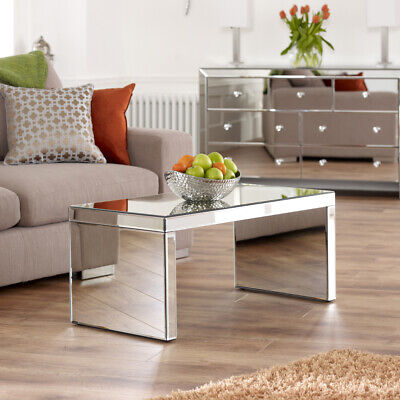 £169 • Buy Venetian Mirrored Small Coffee Table - Glass Rectangle Compact Living - TFM2