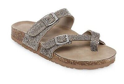 b72c2baca017 Womens Madden Girl Brycee - R Toe Ring Thong Sandals Rhinestones Bling  Pewter • 34.99