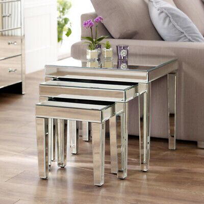 Venetian Mirrored Nest Of 3 Tables - Side Coffee Rectangle Glass Nested - VEN29 • 179£