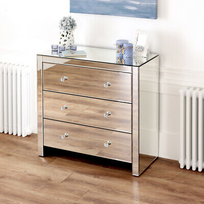 £249 • Buy Venetian Mirrored Compact 3 Drawer Chest - Small Low Bedroom Drawers - VEN91