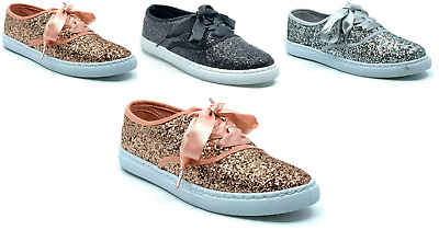 $19.95 • Buy New Womens Sequin Glitter Lace Up Sneaker Fashion Shoes Comfort Ribbon Lace