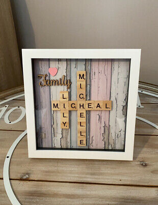 Personalised Family Scrabble Letter Box Frame Picture Present Mum Dad • 13.99£