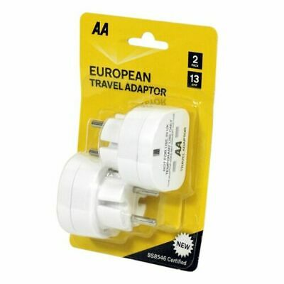 AA European 2pc Travel Adaptor 13amp Travel Abroad 2 Pin Plug Socket Converter • 6.50£