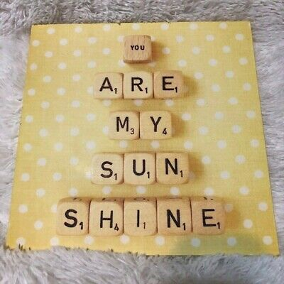 Yellow & White  You Are My Sunshine  Canvas Wall Hanging Picture Scrabble Letter • 11.29£