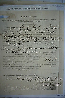 $125 • Buy 1862 CIVIL WAR DISCHARGE PAPER Signed Assistant Surgeon Joseph Rowe Smith
