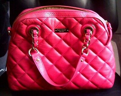 $ CDN138.05 • Buy Auth Kate Spade Gold Coast Georgina Quilted Leather Satchel Purse $398 Hot Pink