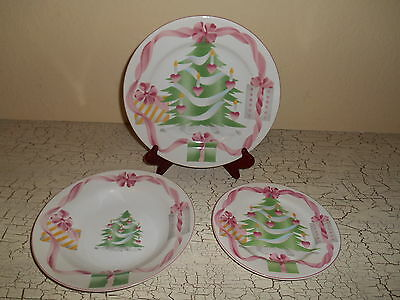 12pc SANGO Home For Christmas Dinnerware Pink Ribbon Hearts Plate Bowl • 74.99$