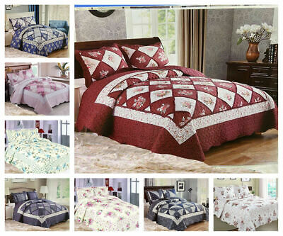 £32.96 • Buy Patchwork Quilted Comfy Bedspread Bedding Set Embroidered Throw Double King Size