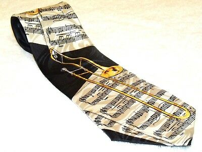 Steven Harris - Trombone - Music Notes - Mens Black Poly Tie / 3.75  X 55.5  /#4 • 10$