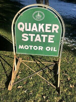 Vintage Quaker State Metal Tombstone Sign W/ Original Stand 2-76 • 325$