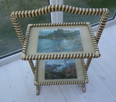 £19.99 • Buy Vintage 2 Tier Folding Tray Stand Dumb Waiter Carry Handle Very Good Condition