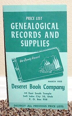Price List Genealogical Records And Supplies March 1958 Lds Mormon Rare Pamphlet • 7.15£