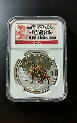 $199 • Buy 2013 Tuvalu Dragons Of Legend Silver Coin NGC PF 70 UC Early Release 1 Oz .999