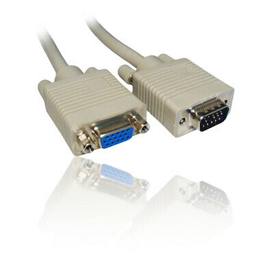 10m SVGA/VGA Monitor Extension TFT Screen Monitor Cable/Lead/Wire Male To Female • 10.99£