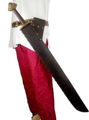 LARP Angled Stiff Leather Full  Scabbard Sword Weapon Loop Frog In Black Brown • 49.99£