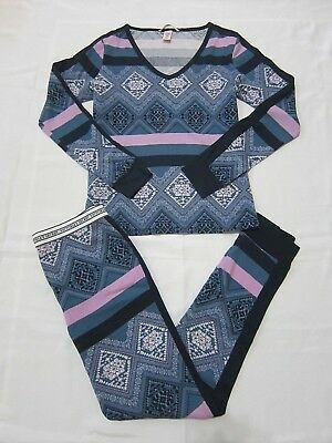 e6e5fcc8cd Victoria Secret FIRESIDE THERMAL LONG JANE Pink Blue Fairisle PAJAMAS S Or  L SET • 48.99