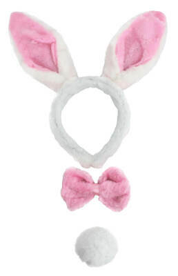 £6.99 • Buy Womans Hen Night Pink And White Bunny Party Ears With Bow Tie And White Tail Lot