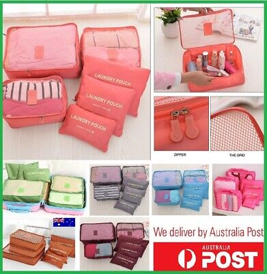 AU9.95 • Buy 6pcs Packing Cubes Travel Luggage Organizer Clothes Suitcase Storage Bags Pouch