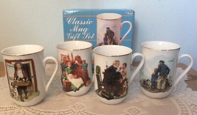 $ CDN18.66 • Buy Norman Rockwell Museum Classic Mugs Cups Gift Set Gold Trim New In Box 1986