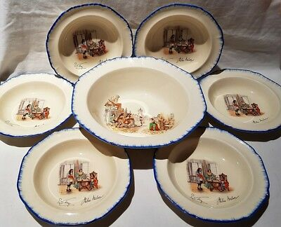 Parrot & Co Coronet Ware Nell Gwyn Dessert Set 1 X Large Bowl + 6 Bowls C1921-59 • 81.33£