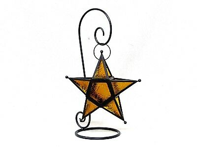 Large Amber Patterned Glass & Metal Moroccan Tea Light Star Lantern & Iron Stand • 29.95$