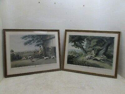 Vintage Framed Samuel Howitt Shooters Going Out & Rabbit Shooting, Orme's, 1955 • 49.95£